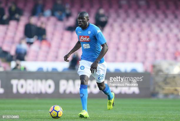 Kalidou Koulibaly of SSC Napoli in action during the serie A match between SSC Napoli and Bologna FC at Stadio San Paolo on January 28 2018 in Naples...