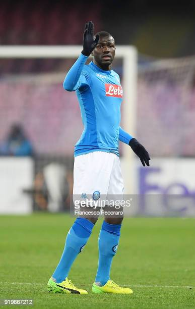 Kalidou Koulibaly of SSC Napoli in action during UEFA Europa League Round of 32 match between Napoli and RB Leipzig at the Stadio San Paolo on...