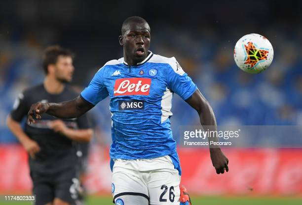Kalidou Koulibaly of SSC Napoli in actionduring the Serie A match between SSC Napoli and UC Sampdoria at Stadio San Paolo on September 14, 2019 in...