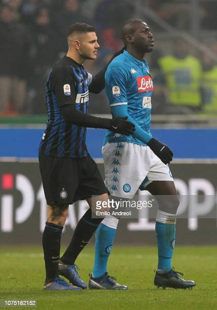 Kalidou Koulibaly of SSC Napoli leaves the field after receiving a red card during the Serie A match between FC Internazionale and SSC Napoli at...