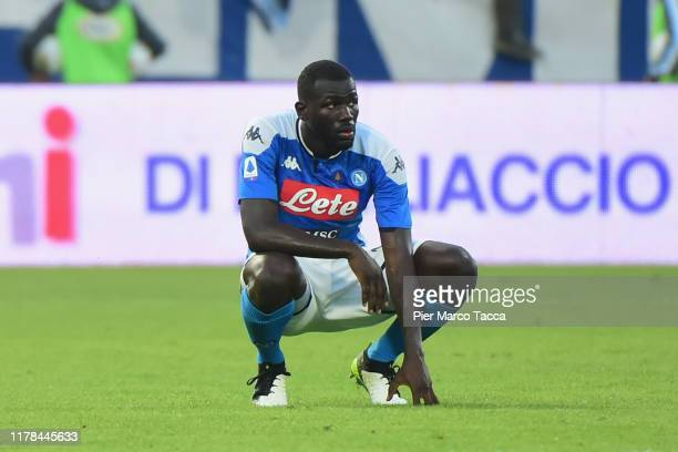 Kalidou Koulibaly of SSC Napoli looks disappointed during the Serie A match between SPAL and SSC Napoli at Stadio Paolo Mazza on October 27, 2019 in...