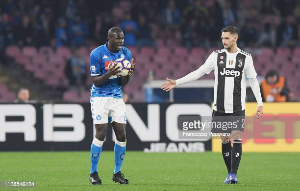 Kalidou Koulibaly of SSC Napoli reacts after being fouled during the Serie A match between SSC Napoli and Juventus at Stadio San Paolo on March 3...