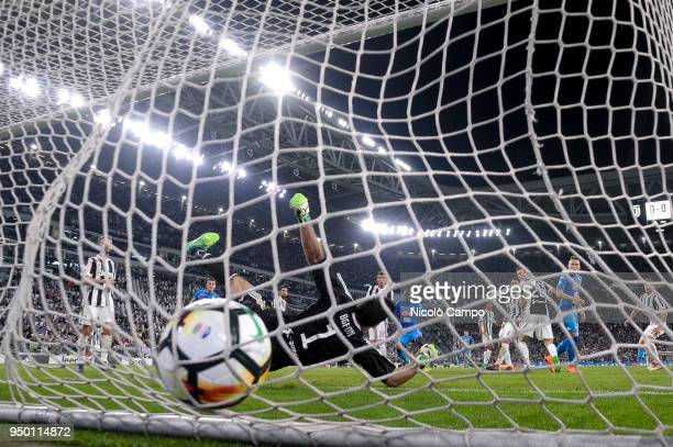 Kalidou Koulibaly of SSC Napoli scores the winning goal during the Serie A football match between Juventus FC and SSC Napoli SSC Napoli won 10 over...