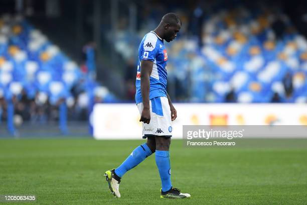 Kalidou Koulibaly of SSC Napoli stands disappointed after the Serie A match between SSC Napoli and US Lecce at Stadio San Paolo on February 09, 2020...