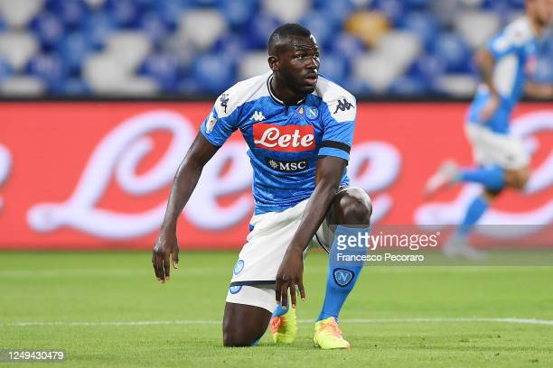 Kalidou Koulibaly of SSC Napoli stands disappointed during the Coppa Italia Semi-Final Second Leg match between SSC Napoli and FC Internazionale at...