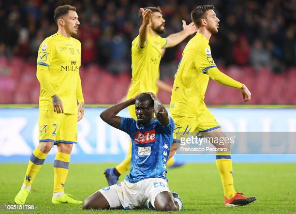 Kalidou Koulibaly of SSC Napoli stands disappointed during the Serie A match between SSC Napoli and Chievo Verona at Stadio San Paolo on November 25...