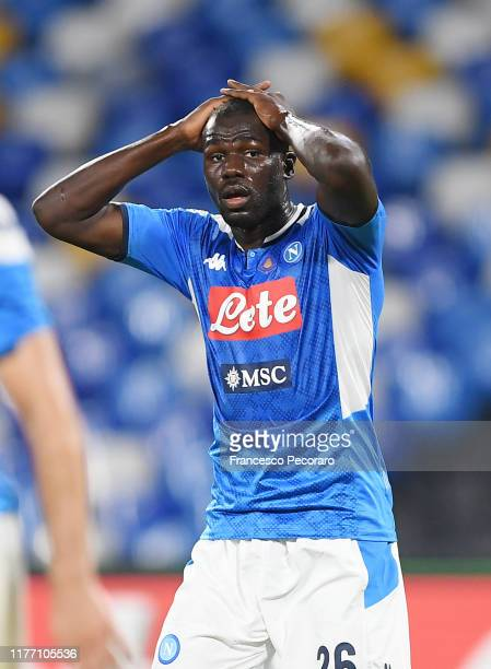 Kalidou Koulibaly of SSC Napoli stands disappointed during the Serie A match between SSC Napoli and Cagliari Calcio at Stadio San Paolo on September...