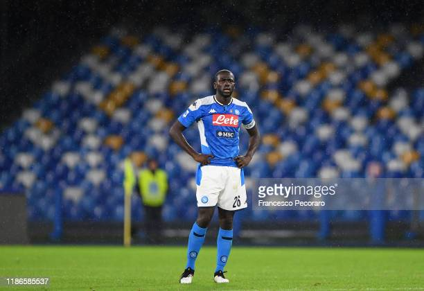 Kalidou Koulibaly of SSC Napoli stands disappointed during the Serie A match between SSC Napoli and Genoa CFC at Stadio San Paolo on November 09,...