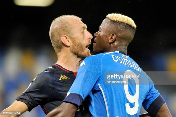 Kalidou Koulibaly player of Napoli and Andrea Masiello player of Genoa, during the match of the Italian Serie A football championship between Napoli...