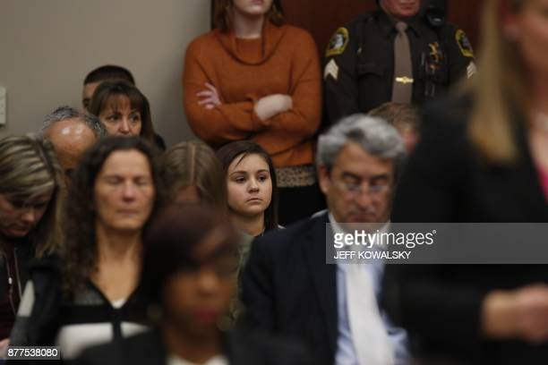 kalie Lorincz who was victimized by former Michigan State University and USA Gymnastics doctor Larry Nassar during a hearing in Ingham County Circuit...