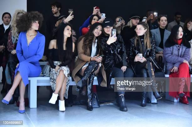 Kaliegh Garris and Jennifer Tsai attend the Vivienne Hu Fall/Winter 2020 New York Fashion Week Runway Show at Gallery II at Spring Studios on...