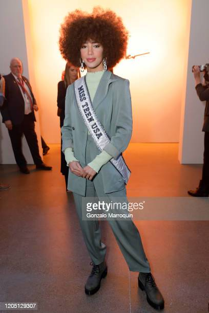 Kaliegh Garris attends the Nicole Miller fashion show during February 2020 New York Fashion Week The Shows at Gallery II at Spring Studios on...