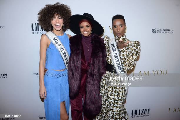 Kaliegh Garris Halima Aden and Zozibini Tunzi attend New York Premiere Of I Am You at Pier 59 Studios on February 6 2020 in New York City