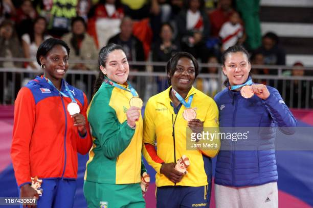 Kaliema Antomarchi of Cuba Mayra Aguiar of Brazil Diana Brenes of Costa Rica and Vanessa Chala of Ecuador during Judo Women´s 78kg on Day 16 of the...