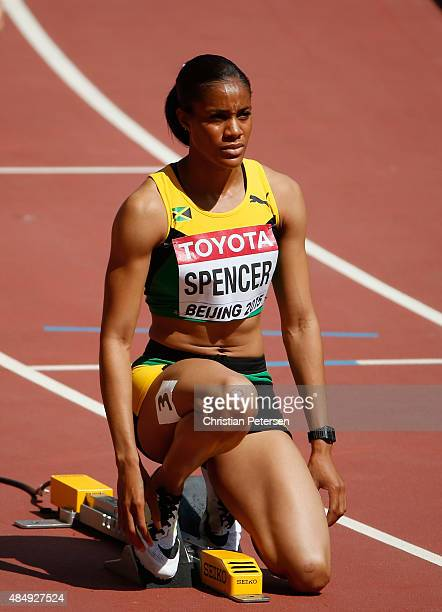 Kaliese Spencer of Jamaica prepares at the start of in the Women's 400 metres hurdles heats during day two of the 15th IAAF World Athletics...