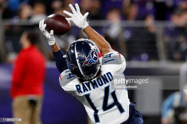 Kalif Raymond of the Tennessee Titans catches a touchdown in the second quarter of the AFC Divisional Playoff game against the Baltimore Ravens at...