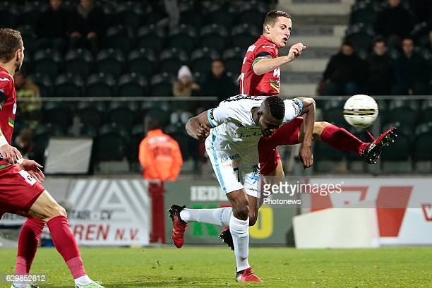 Kalifa Coulibaly forward of KAA Gent and Adam Marusic midfielder of KV Oostende during the Croky Cup quarter final match between KV Oostende and KAA...