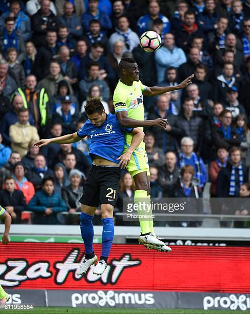 Kalifa Coulibaly forward of KAA Gent and Dion Cools defender of Club Brugge pictured during Jupiler Pro League match between Club Brugge KV and KAA...