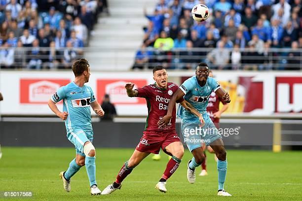 Kalifa Coulibaly forward of KAA Gent, Brecht Dejaegere midfielder of KAA Gent and Luca Marrone midfielder of SV Zulte Waregem pictured during the...