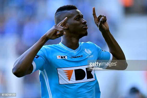 Kalifa Coulibaly forward of KAA Gent celebrates scoring the opening goal during the Jupiler Pro League match between KAA Gent and SV Zulte Waregem in...