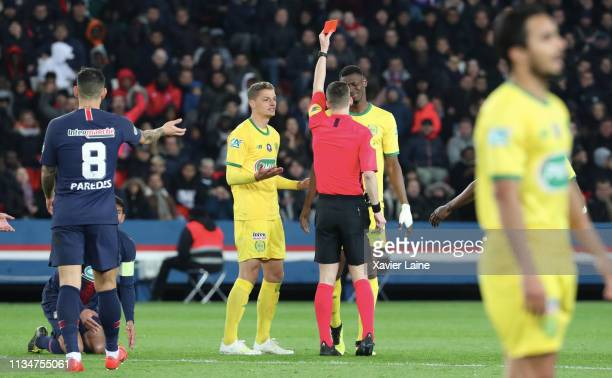 Kalifa Coulibaly of FC Nantes receive a red card during the French Cup Semi Final match between Paris SaintGermain and FC Nantes at Parc des Princes...