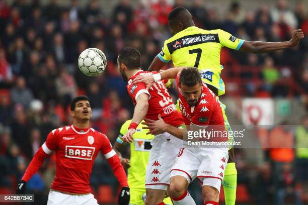 Kalifa Coulibaly of KAA Gent heads on goal during the Belgian Jupiler Pro League match between Royal Standard de Liege and KAA Gent held at Stade...