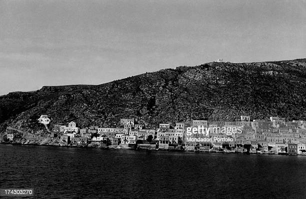 Kalimnos with its characteristic blue and white houses famous for being the island of the sponge divers Kalimnos June 1959