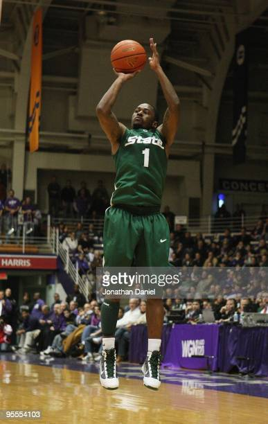 Kalin Lucas of the Michigan State Spartans puts up a shot against the Northwestern Wildcats on January 2 2010 at WelshRyan Arena in Evanston Illinois...