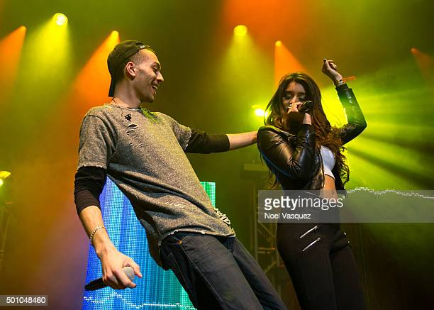 Kalin White of Kalin And Myles and Anjali Ranadive perform at Club Nokia on December 11 2015 in Los Angeles California