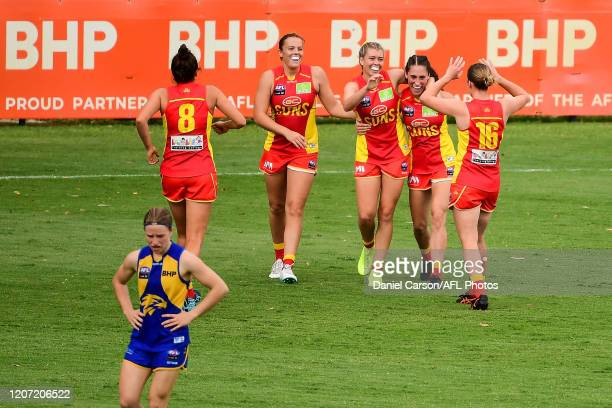 Kalinda Howarth of the Suns celebrates a goal during the 2020 AFLW Round 06 match between the West Coast Eagles and the Gold Coast Suns at Mineral...