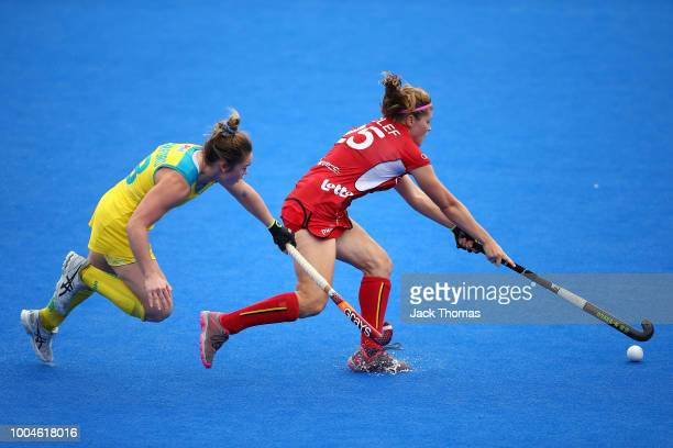 Kalindi Commerford of Australia and Pauline Leclef of Belgium during the Pool D game between Australia and Belgium of the FIH Womens Hockey World Cup...