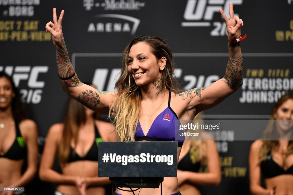 Kalindra Faria of Brazil poses on the scale during the UFC 216 weigh-in inside T-Mobile Arena on October 6, 2017 in Las Vegas, Nevada.