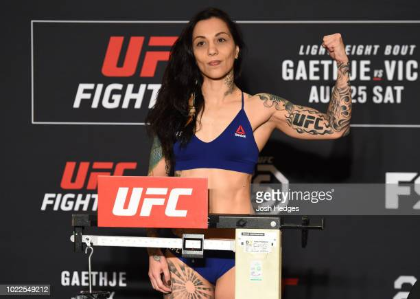 Kalindra Faria of Brazil poses on the scale during the UFC weighin on August 24 2018 in Lincoln Nebraska