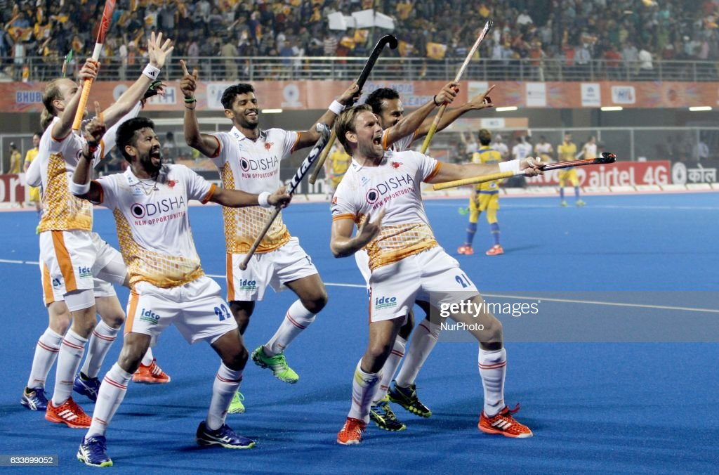 Kalinga Lancer players are celebrating after scoring goals against the Jaypee Punjab Warrior in the Hockey India League 2017 matches at Kalinga...