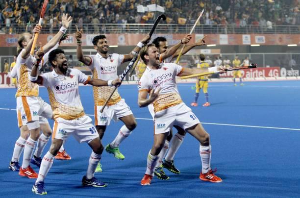 Kalinga Lancer players are celebrating after scoring goals against the Jaypee Punjab Warrior in the Hockey India League 2017 matches at Kalinga...