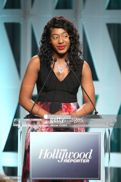 Kalis Coleman accepts The Black Panther Scholarship onstage during The Hollywood Reporter's Power 100 Women In Entertainment at Milk Studios on...