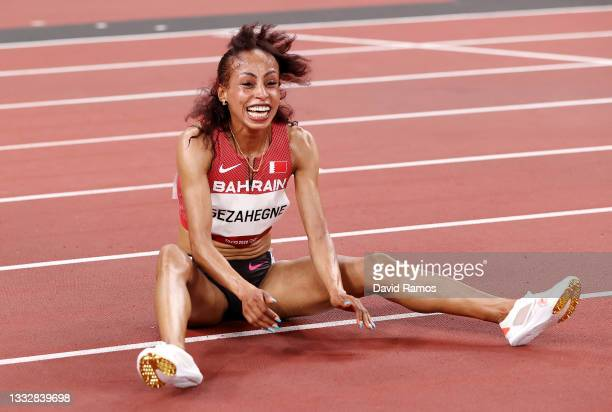 Kalkidan Gezahegne of Team Bahrain celebrates as she wins the silver medal in the Women's 10,000m Final on day fifteen of the Tokyo 2020 Olympic...