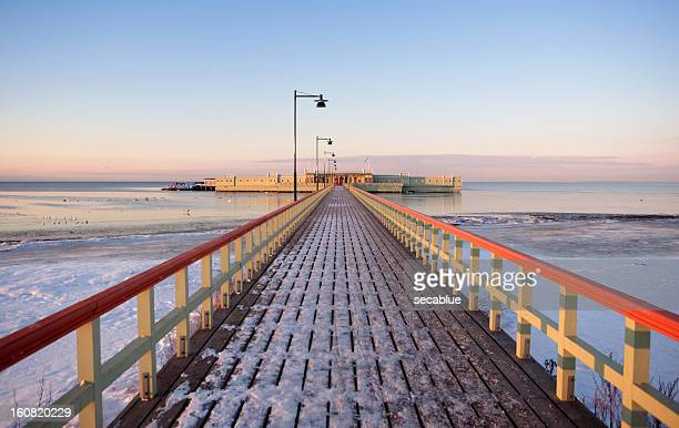 kallbadhuset pier at dusk - malmo stock pictures, royalty-free photos & images