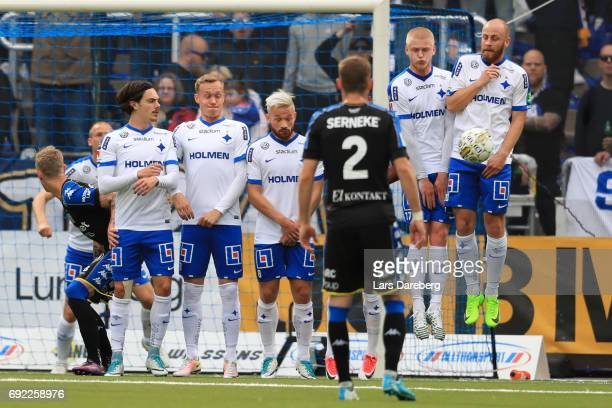Kalle Holmberg and Daniel Sjolund of IFK Norrkoping save during the Allsvenskan match between IFK Norrkoping and IFK Goteborg on June 4 2017 at...