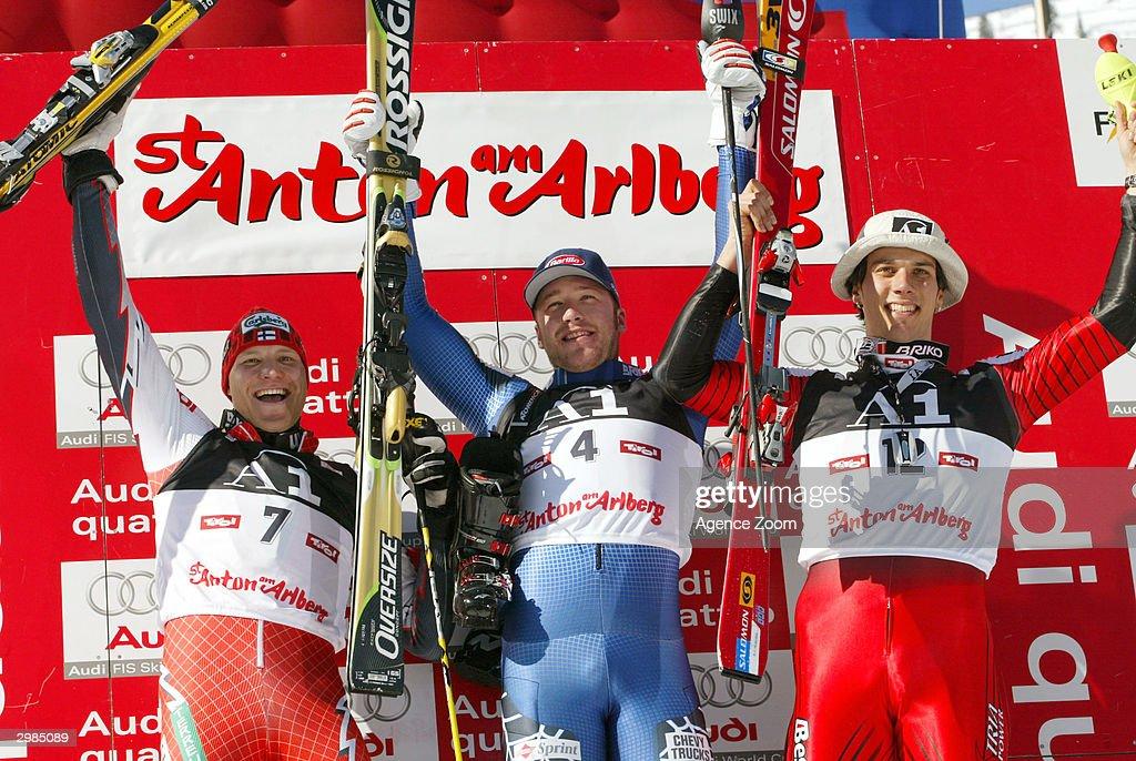 Kalle Palander (2), Bode Miller (1) and Mario Matt (3) The winners of the Men's Slalom at the FIS Alpine Ski World Cup 2004, held on February 15, 2004 in Saint Anton, Austria.