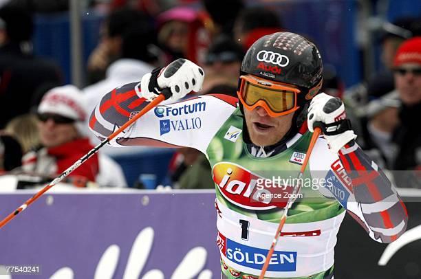 Kalle Palander of Finland celebrates taking 3rd place during the Alpine FIS Ski World Cup Men's Giant Slalom on October 28 2007 in Soelden Austria