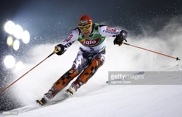 Kalle Palander of Finland in action before finishing in 1st place during the FIS Skiing World Cup - Men's Night Slalom on January 24, 2006 in...