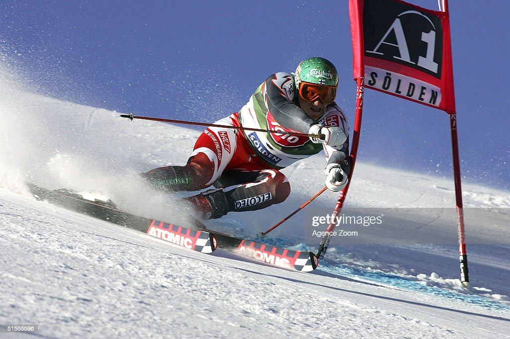 Kalle Palander of Finland skis during the Men's Giant Slalom at the FIS Alpine Ski World Cup on October 24, 2004 in Soelden, Austria. Palander finished in third place.