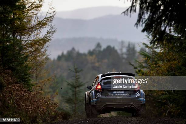 Kalle Rovanpera of Finland drives with codriver Jonne Halttunen of Finland during the Gwydir stage of the FIA World Rally Championship Great Britain...