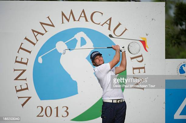 Kalle Samooja of Finland hits his tee shot on the 4th hole during round two of the Venetian Macau Open on October 18 2013 at the Macau Golf Country...