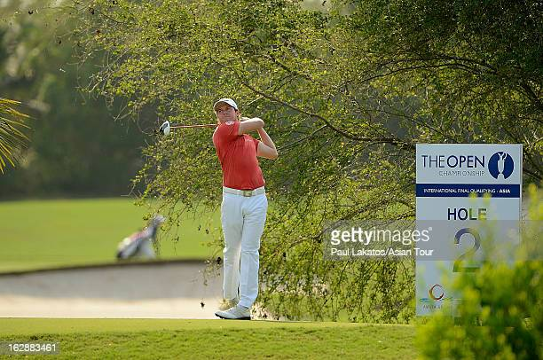 Kalle Samooja of Finland in action during round two of The Open Championship International Final Qualifying Asia at Amata Springs Country Club on...