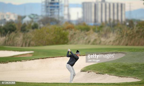 Kalle Samooja of Finland in action during the first round of the European Tour Qualifying School Final Stage at Lumine Golf Club on November 11 2017...