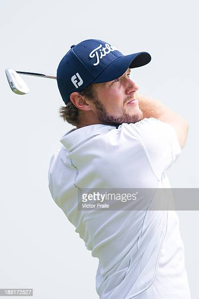 Kalle Samooja of Finland of New Zealand tees off on the 17th hole during day two of the Venetian Macau Open at Macau Golf and Country Club on October...