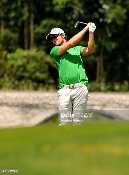 Kalle Samooja of Finland plays a shot during the Final Day of the CIMB Niaga Indonesian Masters at Royale Jakarta Golf Club on April 26 2015 in...