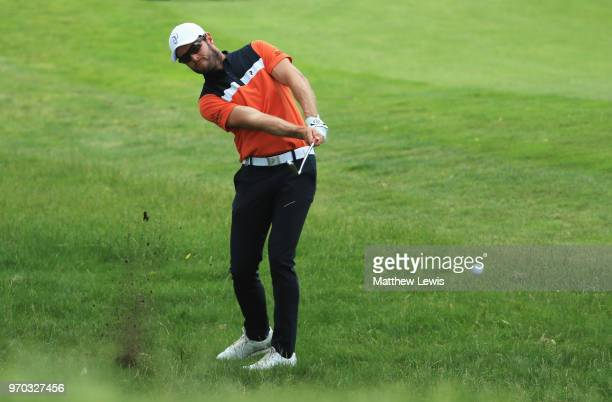 Kalle Samooja of Finland plays from the light rough during day three of the 2018 Shot Clock Masters at Diamond Country Club on June 9 2018 in...
